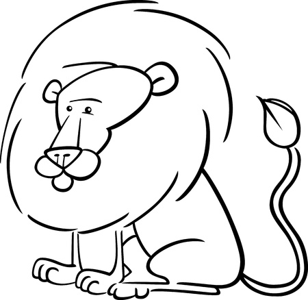 Cartoon Illustration of Cute African Lion for Coloring Book
