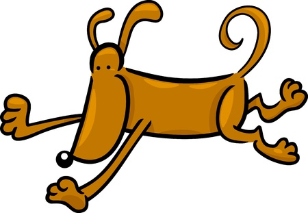 cartoon doodle illustration of running dog or puppy Vector