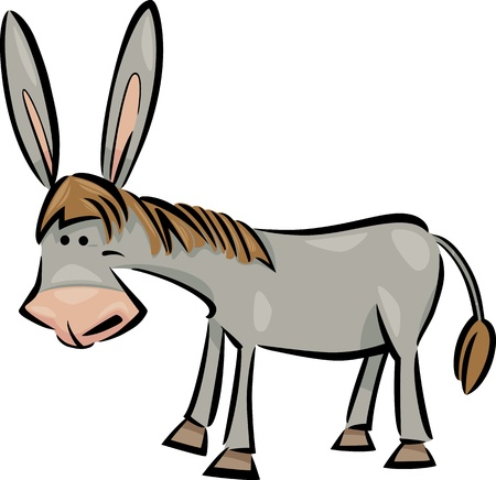 cartoon illustration of cute gray farm donkey Vector