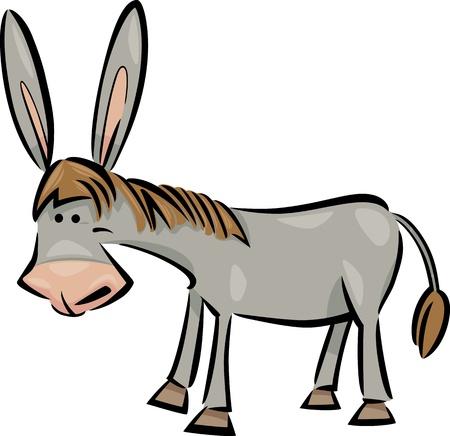 cartoon donkey: cartoon illustration of cute gray farm donkey Illustration