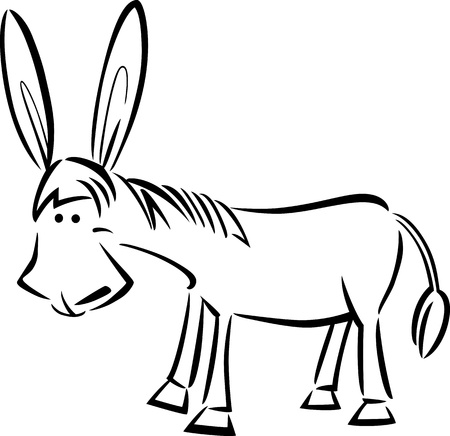 burro: ilustración de dibujos animados de burro lindo para libro para colorear Vectores