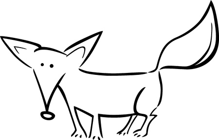 cartoon doodle illustration of cute fox for coloring book Vector