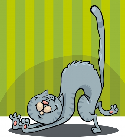 cat stretching: Cartoon Illustration of Stretching Happy Gray Cat
