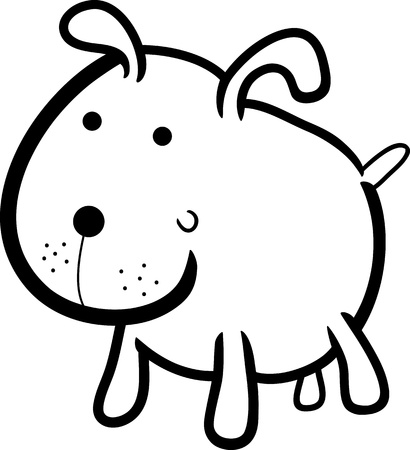colorless: cartoon illustration of cute dog or puppy for coloring book