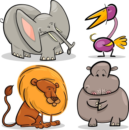 cartoon illustration of four cute African animals set Stock Vector - 14501726
