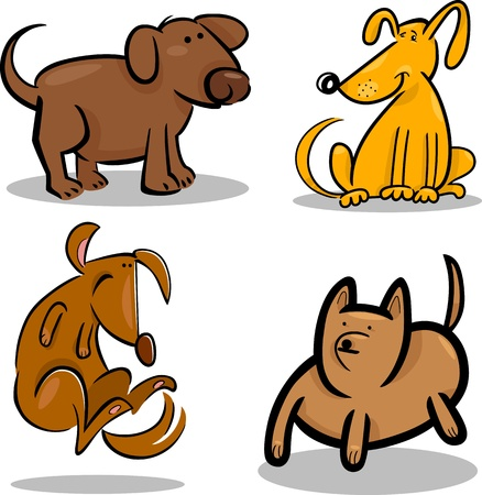 cartoon illustration of four cute dogs or puppies set Vector