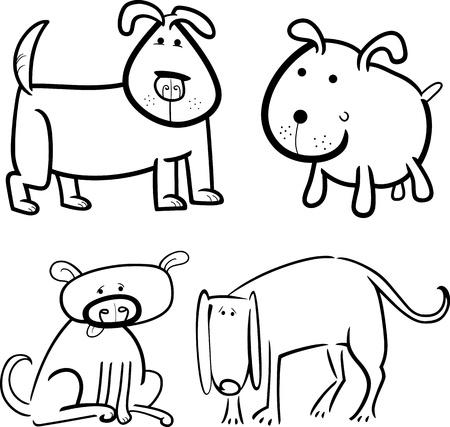 Doodle Ilustración De Dibujos Animados Lindo Perro O Cachorro De ...