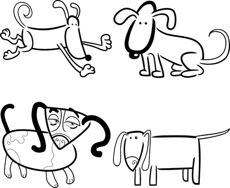 cartoon illustration of four cute dogs or puppies set for coloring book Vector