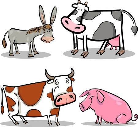 pig tails: cartoon illustration of four cute farm animals set