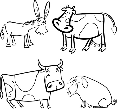 milker: cartoon illustration of four cute farm animals set for coloring book