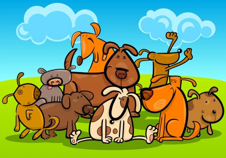 group of pets: Cartoon Illustration of Cute Dogs or Puppies Group Against Blue Sky Illustration
