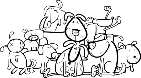 dog group: Cartoon Illustration of Cute Dogs or Puppies Group for Coloring Book
