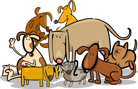 sit stay: Cartoon Illustration of Funny Dogs or Puppies Group