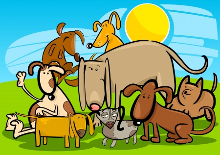 dog park: Cartoon Illustration of Funny Dogs or Puppies Group Against Blue Sky Illustration