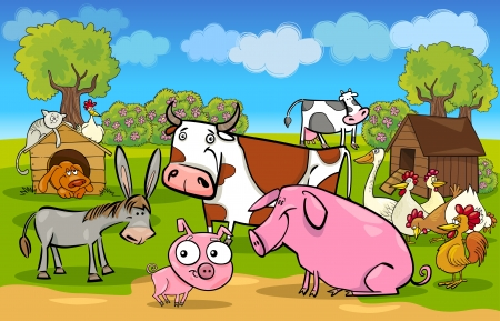 poultry farm: cartoon illustration of rural scene with cute farm animals group Illustration