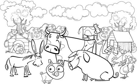 coloring book page: cartoon illustration of farm animals group for coloring book