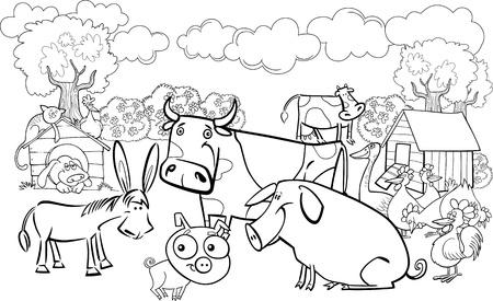 dibujos para colorear: ilustraci�n de dibujos animados de la granja de los animales del grupo de libro para colorear