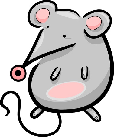cartoon illustration of cute little gray mouse Vector