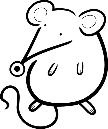 cartoon illustration of cute little mouse for coloring book Stock Vector - 14576587