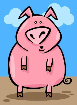 cartoon illustration of cute pink farm pig Stock Vector - 14576573