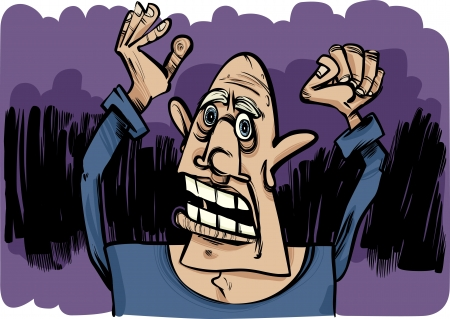 cartoon sketch illustration of outraged and scared man Vector