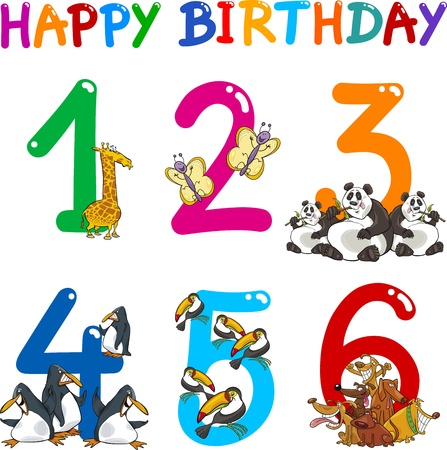 fourth birthday: Cartoon Set Illustration of Birthday Anniversary Numbers with Funny Animals or Insects