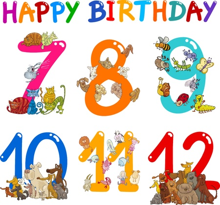 ninth: Cartoon Set Illustration of Birthday Anniversary Numbers with Funny Animals or Insects