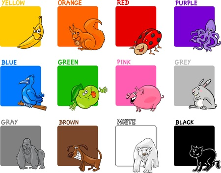 teaching children: Cartoon Illustration of Primary Colors with Animals or Objects Education Set