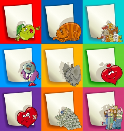 money cat: Conjunto de dibujos animados Ilustraci�n de coloridos dise�os en blanco para la decoraci�n o la invitaci�n