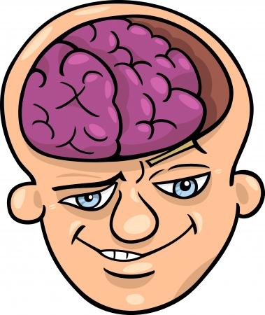 Humorous Cartoon Illustration of Brainy Man or Smart Guy