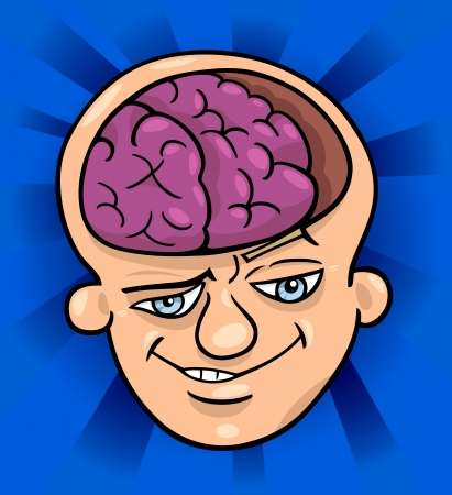 skeptic: Humorous Cartoon Illustration of Brainy Man or Smart Guy