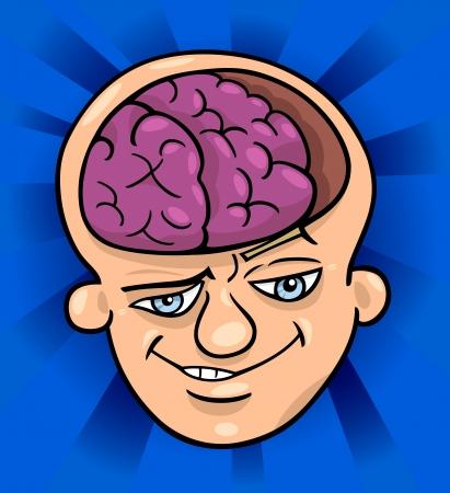 smart man: Humorous Cartoon Illustration of Brainy Man or Smart Guy