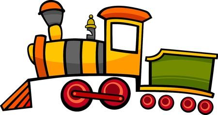 petit train: illustration de bande dessin�e mignonne de locomotive � vapeur moteur color� ou en train Illustration
