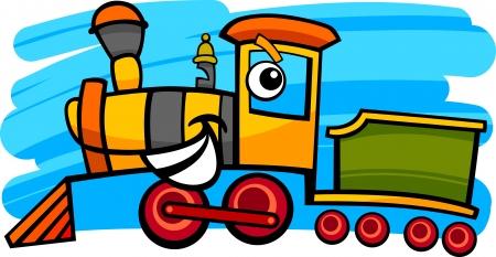 cartoon illustration of cute steam engine locomotive or train character