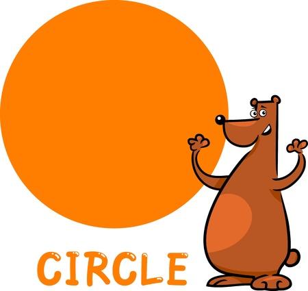 basic shapes: Cartoon Illustration of Circle Basic Geometric Shape with Funny Bear Character for Children Education