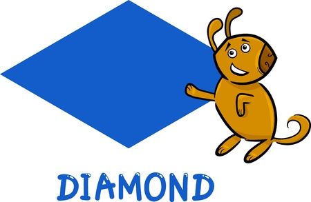 basics: Cartoon Illustration of Diamond or Rhomb Basic Geometric Shape with Funny Dog Character for Children Education