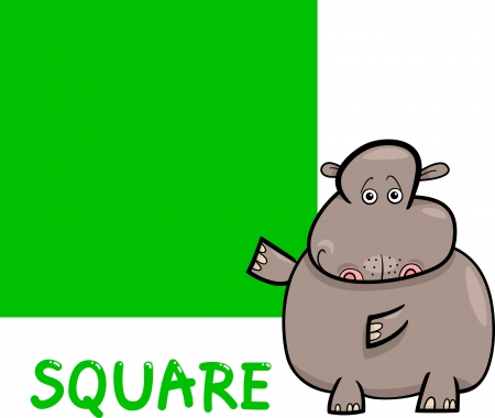 basic shapes: Cartoon Illustration of Square Basic Geometric Shape with Funny Hippo Character for Children Education