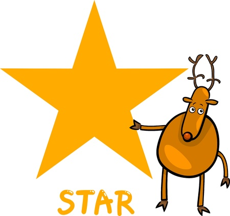 Cartoon Illustration of Star Basic Geometric Shape with Funny Deer Character for Children Education