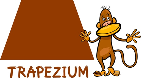Cartoon Illustration of Trapezium or Trapezoid Basic Geometric Shape with Funny Monkey Character for Children Education Vector