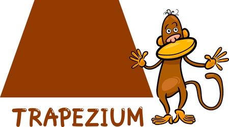 trapezoid: Cartoon Ilustraci�n del Trapecio Trapecio o forma geom�trica b�sica con car�cter Mono divertido para Educaci�n Infantil