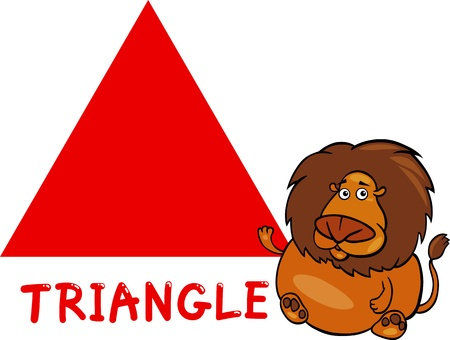 basics: Cartoon Illustration of Triangle Basic Geometric Shape with Funny Lion Character for Children Education