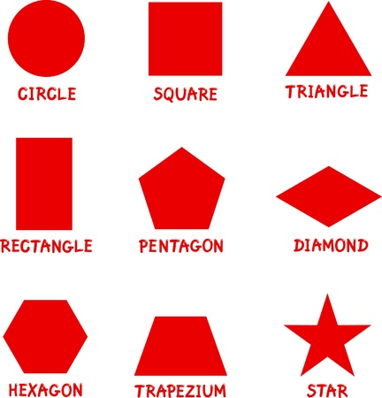 basic: Illustration of Basic Geometric Shapes with Captions for Children Education