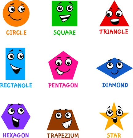 shapes: Cartoon Illustration of Basic Geometric Shapes Comic Characters with Captions for Children Education Illustration