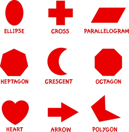 caption: Illustration of Basic Geometric Shapes with Captions for Children Education