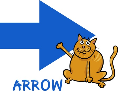Cartoon Illustration of Arrow Basic Shape with Funny Cat Character for Children Education Vector