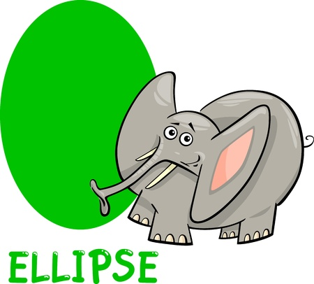 basic: Cartoon Illustration of Ellipse or Oval Basic Geometric Shape with Funny Elephant Character for Children Education