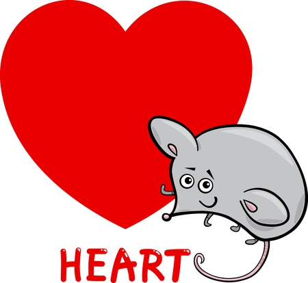Cartoon Illustration of Heart Basic Shape with Funny Mouse Character for Children Education Vector