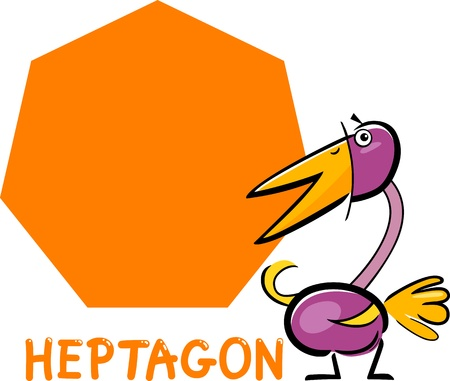 heptagon: Cartoon Illustration of Heptagon Basic Geometric Shape with Funny Bird Character for Children Education