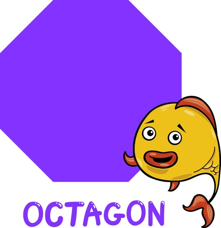 Cartoon Illustration of Octagon Basic Geometric Shape with Funny Fish Character for Children Education Vector