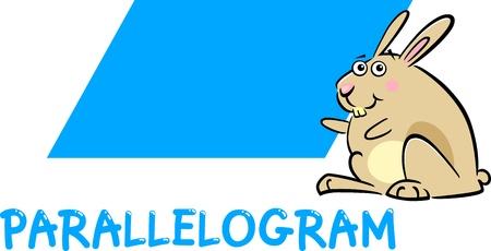 parallelogram: Cartoon Ilustraci�n de paralelogramo de base Forma geom�trica con car�cter conejito divertido para Educaci�n Infantil